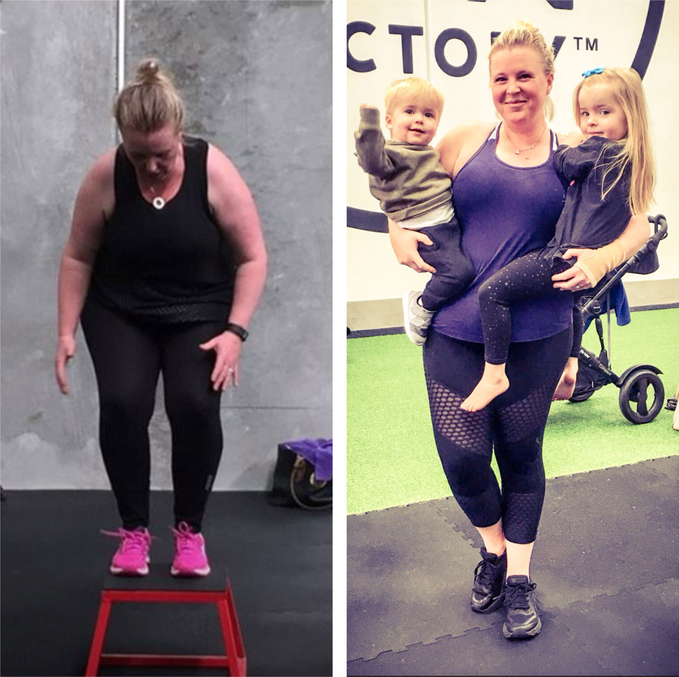 Anna Williamson before and after picture capturing our her weight loss