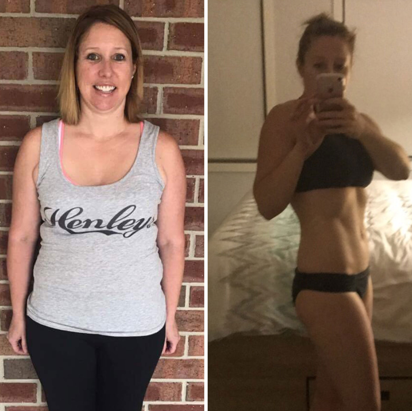 Erin Crocker before and after picture capturing our her weight loss